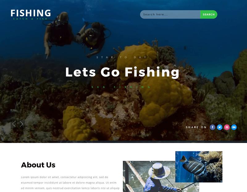 Fishing-1 - 56+ Best Free Animals & Pets HTML Website Templates