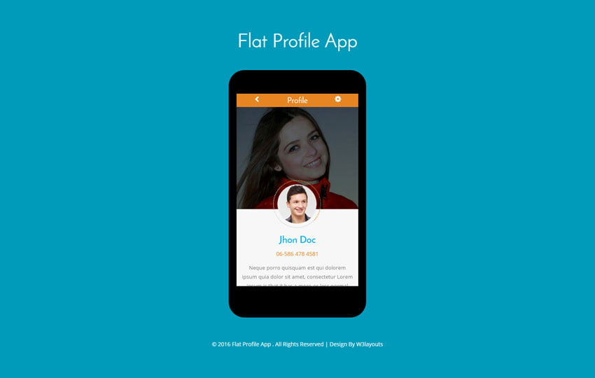 Flat-Profile-App - 56+ Best Free App Landing Page HTML Website Templates [year]