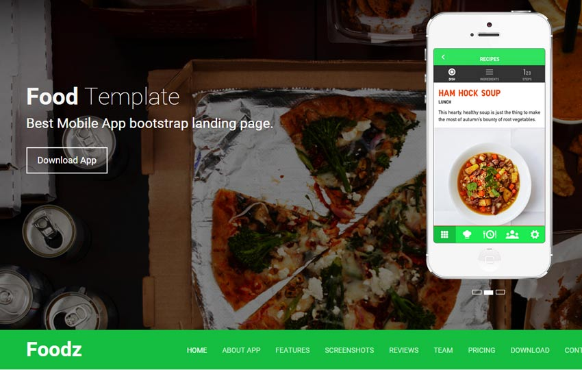 Foodz-mobile-app-bootstrap-landing-page - 56+ Best Free App Landing Page HTML Website Templates [year]
