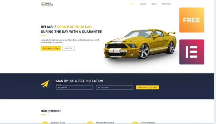 Free-Car-1 - 75+ Free Responsive Automobile HTML Template 2019