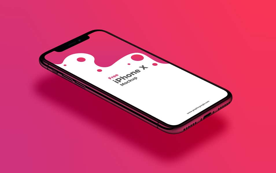 Free-Perspective-View-iPhone-X-Mockup - 100+ Best Free IPhone X Mockup Templates