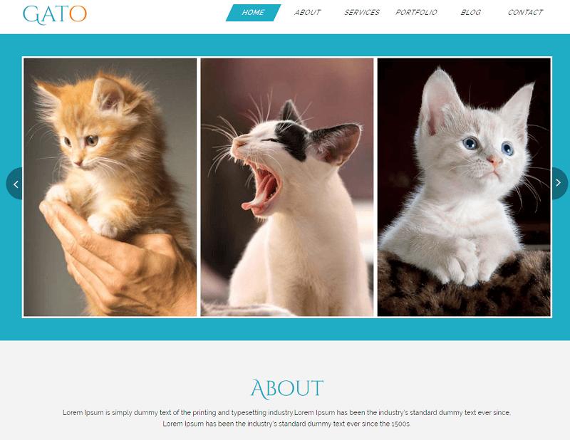 Gato-1 - 56+ Best Free Animals & Pets HTML Website Templates