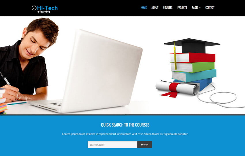Hitech-E-learning-Bootstrap-Website-Template - 57+ Best Free Education HTML Website Templates
