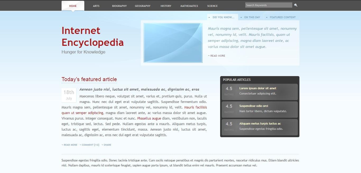 INTERNET-ENCYCLOPEDIA - 57+ Best Free Education HTML Website Templates