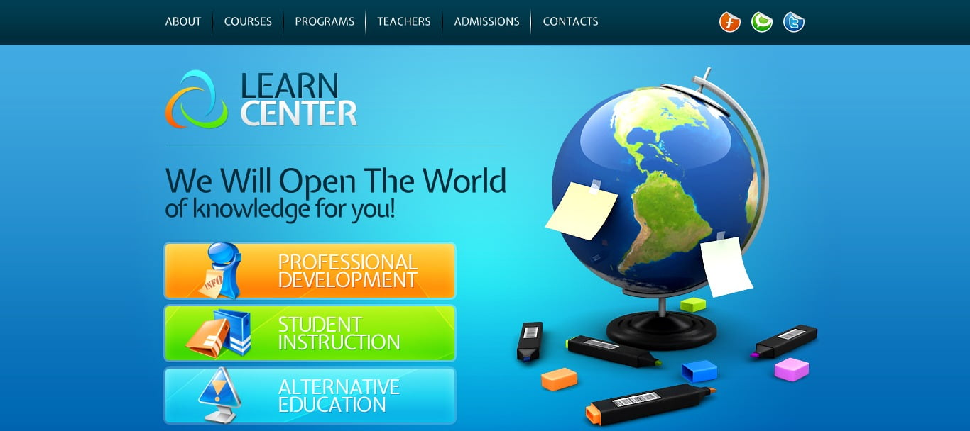LEARN-CENTER - 57+ Best Free Education HTML Website Templates