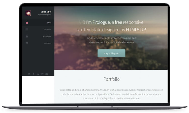 Prologue - 62+ Best Free HTML5 Website Templates [year]