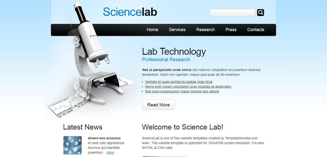 SCIENCELAB - 57+ Best Free Education HTML Website Templates