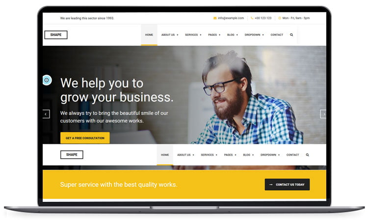 Shape-Business-Template-for-All-Niche - 62+ Best Free HTML5 Website Templates [year]