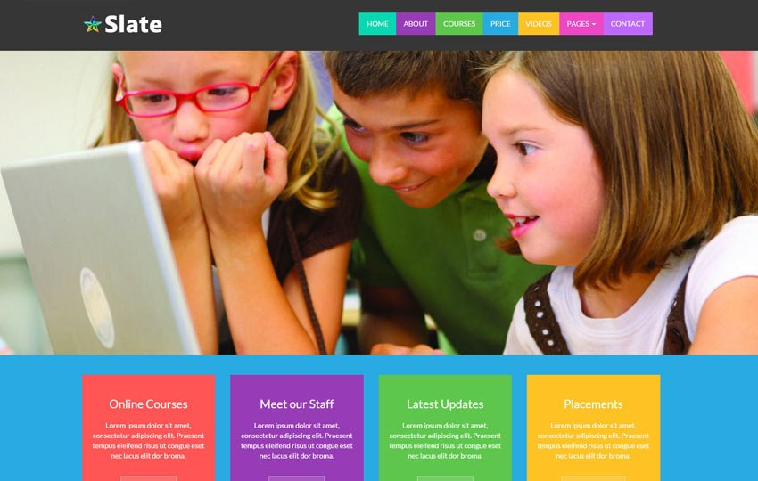 Slate-Educational-School-free-Bootstrap-Template - 57+ Best Free Education HTML Website Templates