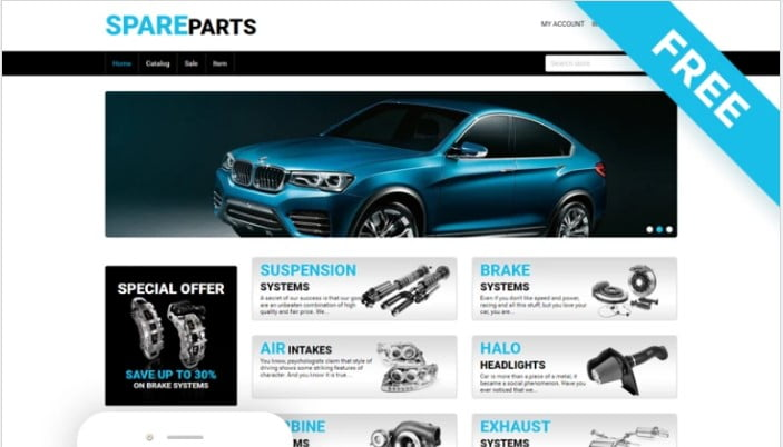 Spare-Parts - 75+ Free Responsive Automobile HTML Template 2019