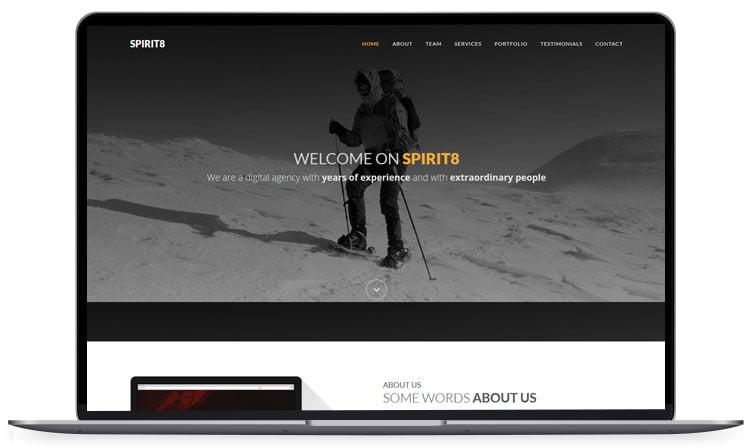 Spirit8 - 62+ Best Free HTML5 Website Templates 2019