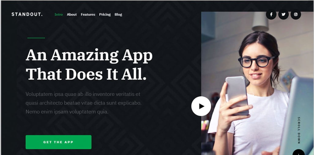 Standout - 56+ Best Free App Landing Page HTML Website Templates [year]