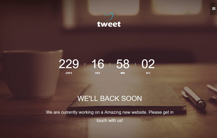 Tweet-Coming-Soon-Material-design-web-template-1-1 - 58+ Free Under Construction HTML Responsive Templates [year]