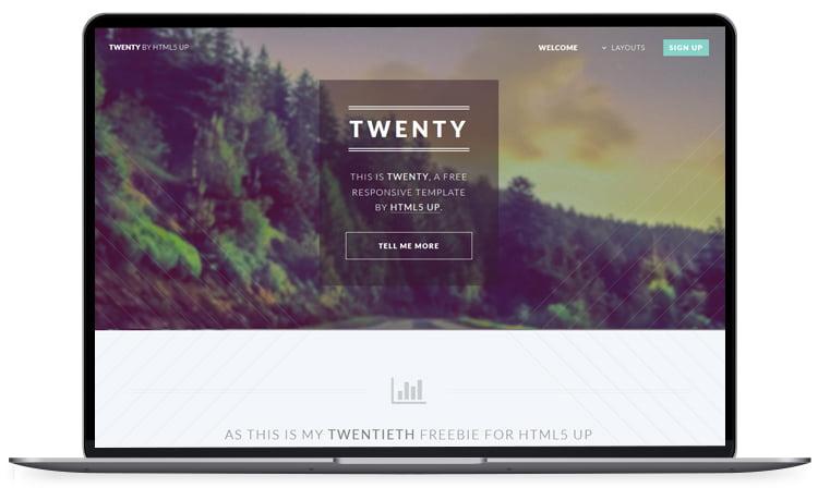Twenty - 62+ Best Free HTML5 Website Templates 2019
