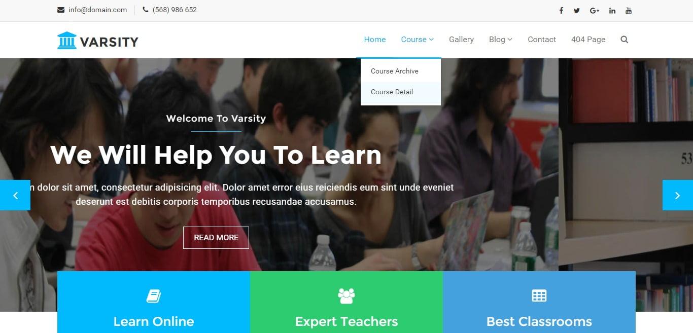 VARSITY - 57+ Best Free Education HTML Website Templates