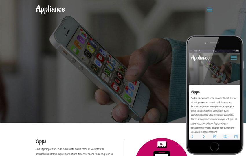 appliance - 56+ Best Free App Landing Page HTML Website Templates [year]