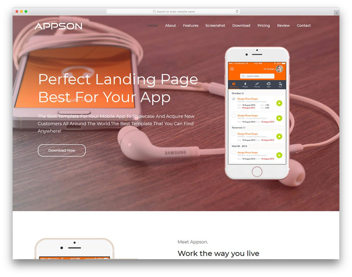 appson-free-template - 56+ Best Free App Landing Page HTML Website Templates