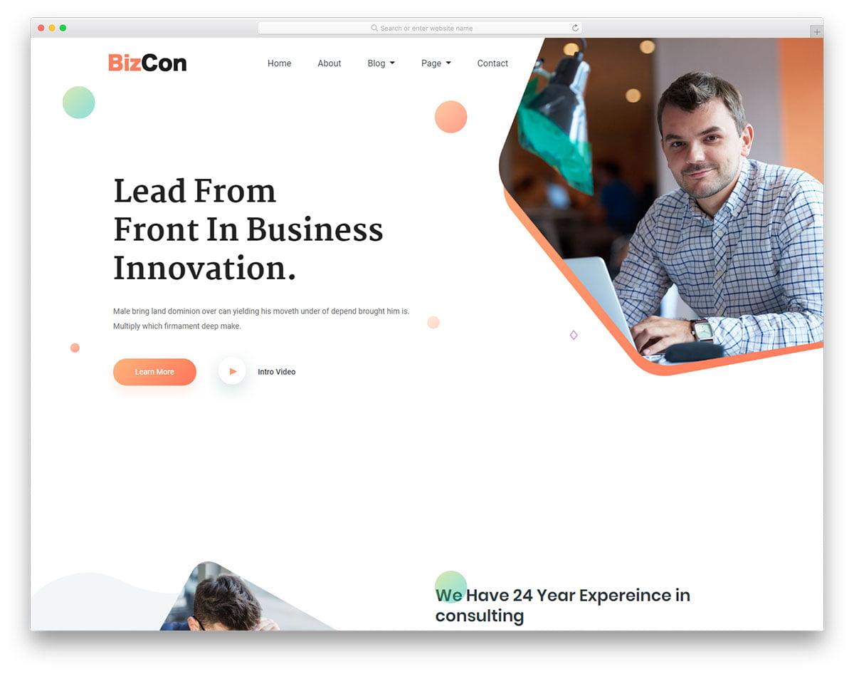 bizcon-free-template - 110+ Free Bootstrap HTML Responsive Templates 2019