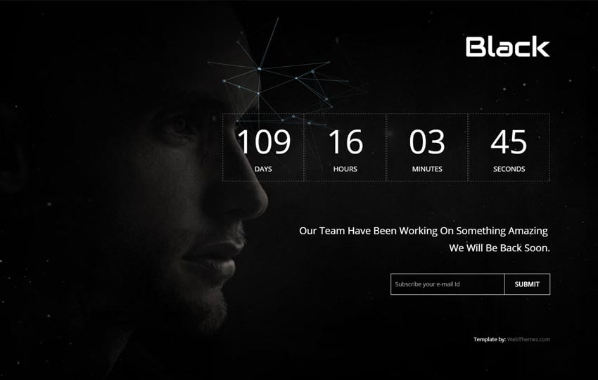 black-coming-soon-responsive-html-template-2 - 58+ Free Under Construction HTML Responsive Templates [year]
