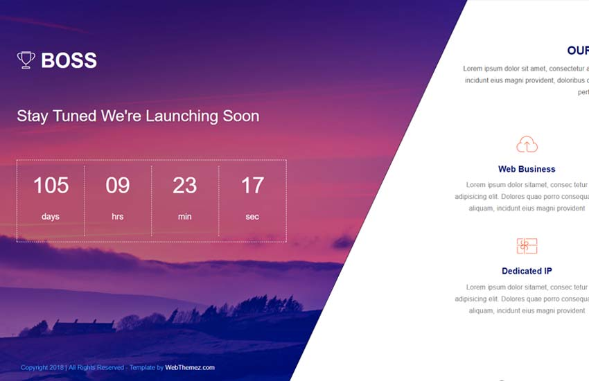 boss-coming-soon-template-1 - 58+ Free Under Construction HTML Responsive Templates [year]
