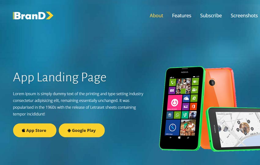 brand-html5-app-landing-page-responsive-web-template3 - 56+ Best Free App Landing Page HTML Website Templates
