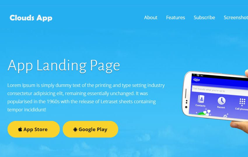 clouds-html5-multipurpose-landing-page-template - 56+ Best Free App Landing Page HTML Website Templates
