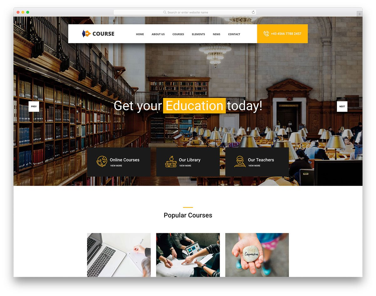 course-free-template - 57+ Best Free Education HTML Website Templates