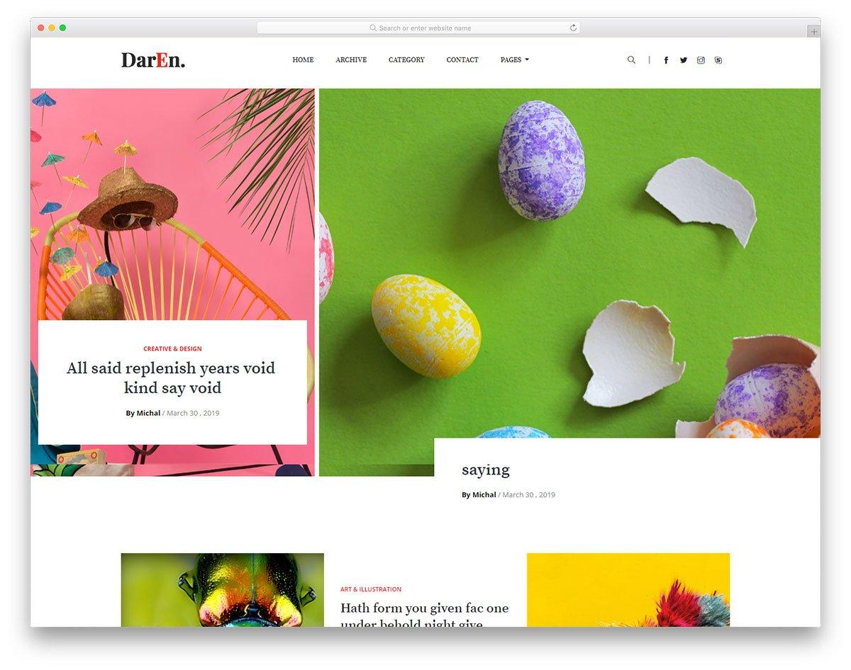 daren-free-template - 110+ Free Bootstrap HTML Responsive Templates 2019