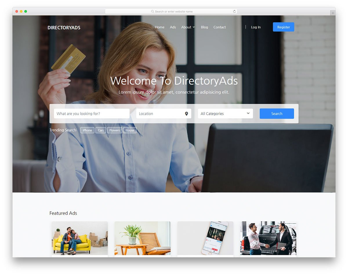 directoryads-free-template - 110+ Free Bootstrap HTML Responsive Templates 2019