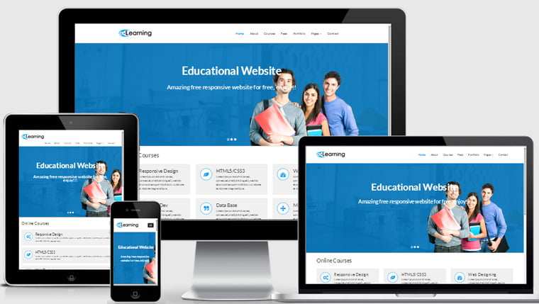 eLearning-Free-Educational-Responsive-Website-Template - 57+ Best Free Education HTML Website Templates