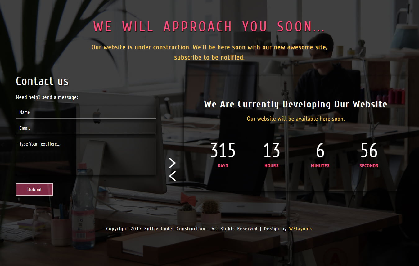 entice_under_construction - 75+ Free Coming Soon HTML Responsive Templates 2019