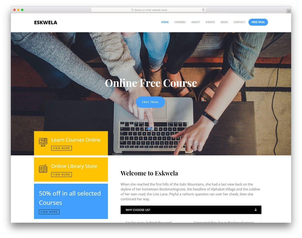 eskwela-free-template - 57+ Best Free Education HTML Website Templates