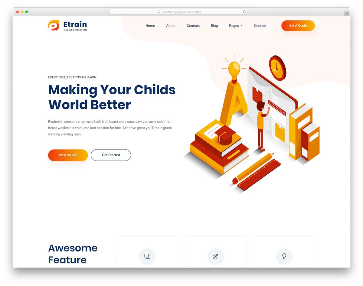 etrain-free-template - 110+ Free Bootstrap HTML Responsive Templates 2019
