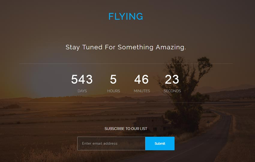 flying-bootstrap-coming-soon-free-template - 58+ Free Under Construction HTML Responsive Templates [year]
