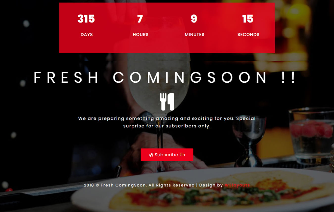 fresh_coming_soon - 75+ Free Coming Soon HTML Responsive Templates 2019