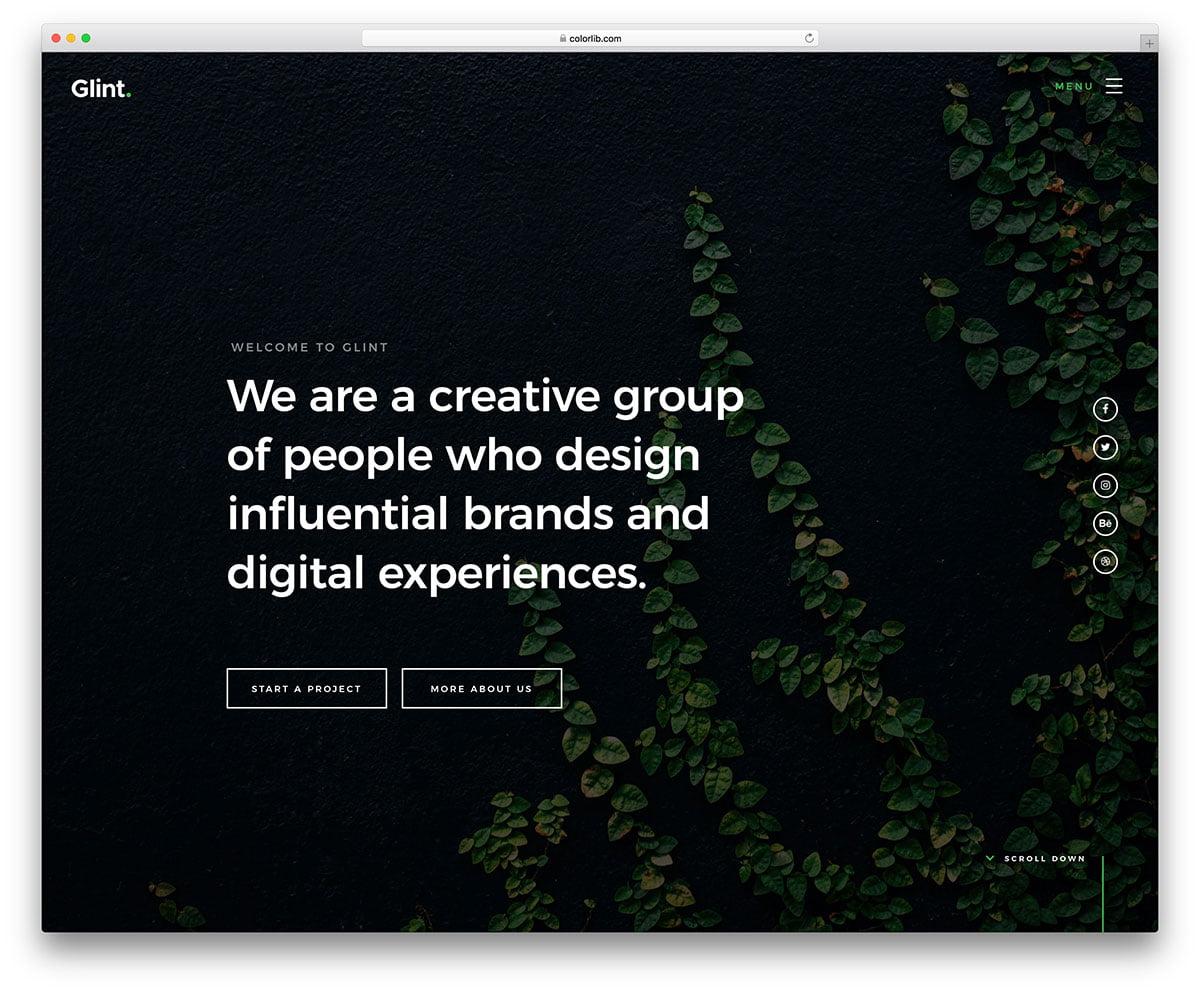 glint-free-fullscreen-small-business-template - 57+ Best Free Digital Agency HTML Website Templates [year]