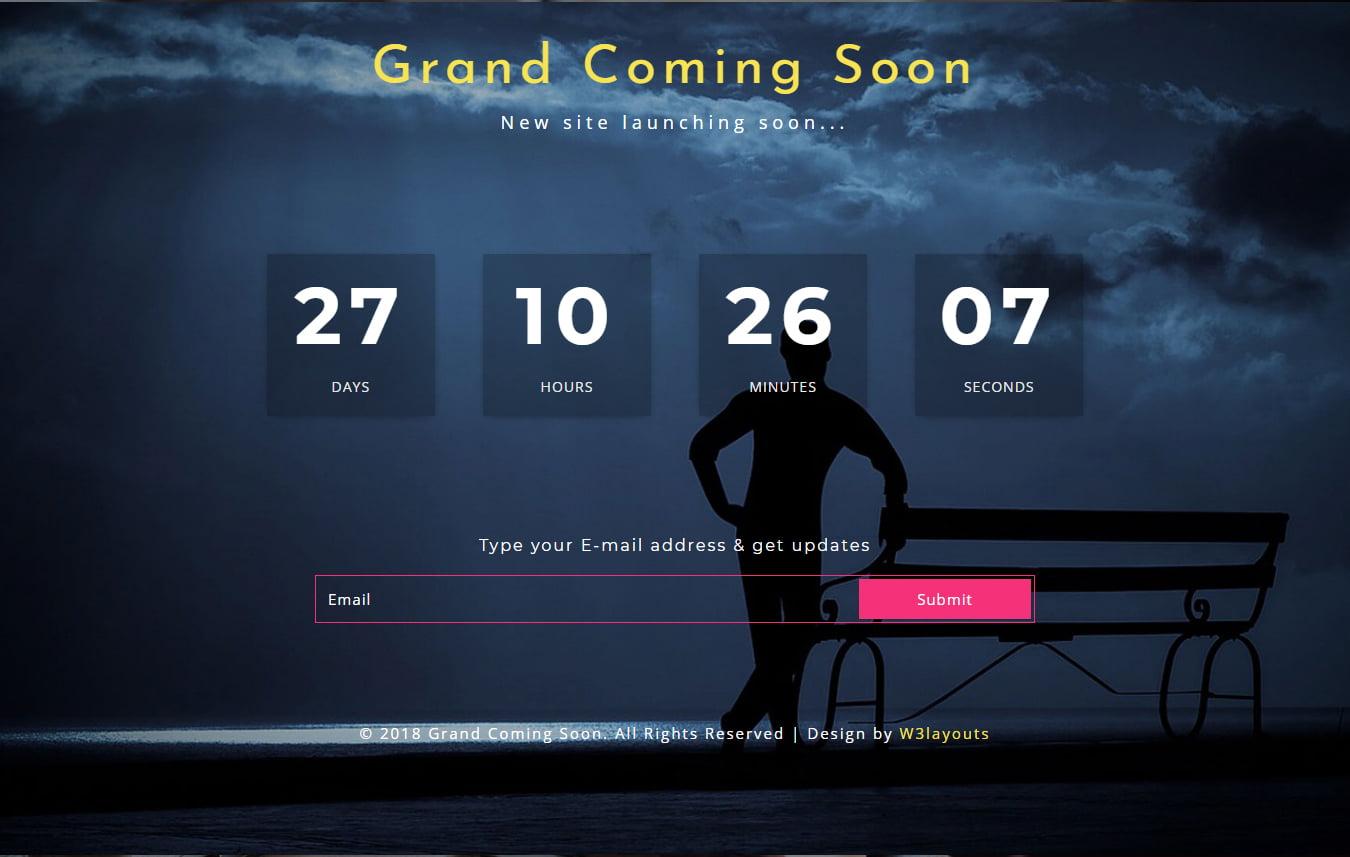 grandComingsoon - 75+ Free Coming Soon HTML Responsive Templates 2019