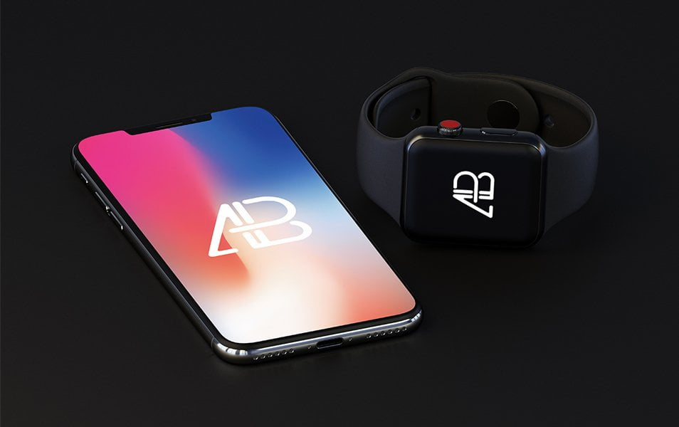 iPhone-X-and-Apple-Watch-Series-3-Mockup - 100+ Best Free IPhone X Mockup Templates