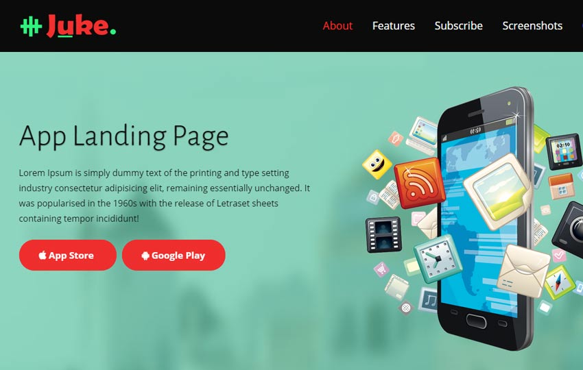 juke-bootstrap-multipurpose-landing-page-for-mobile-apps - 56+ Best Free App Landing Page HTML Website Templates