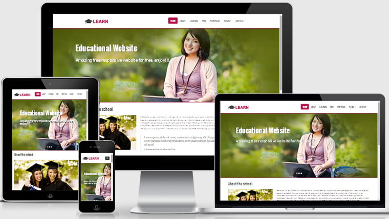 learn-educational-free-responsive-web-template-thumb - 57+ Best Free Education HTML Website Templates