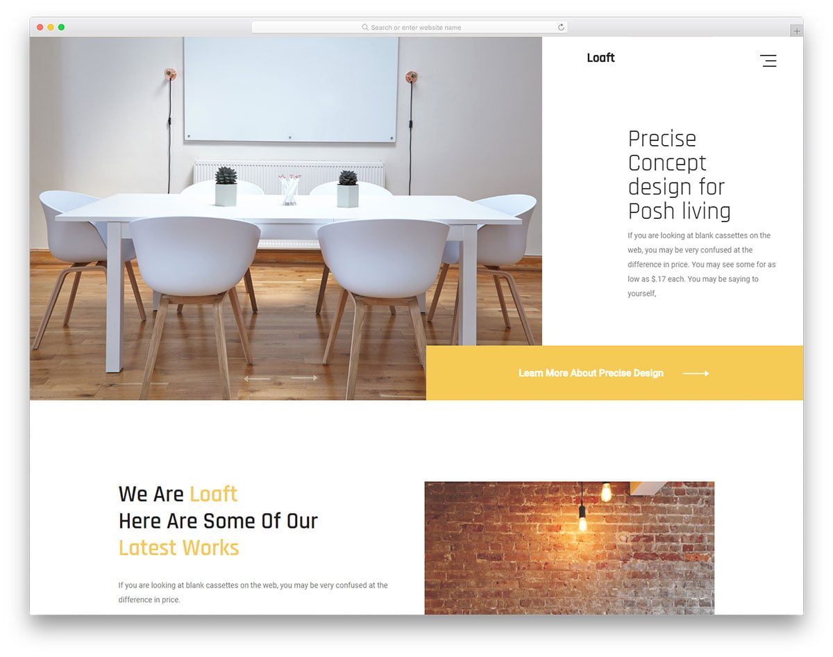 loaft-free-template - 56+ Best Free Architecture HTML Website Templates [year]