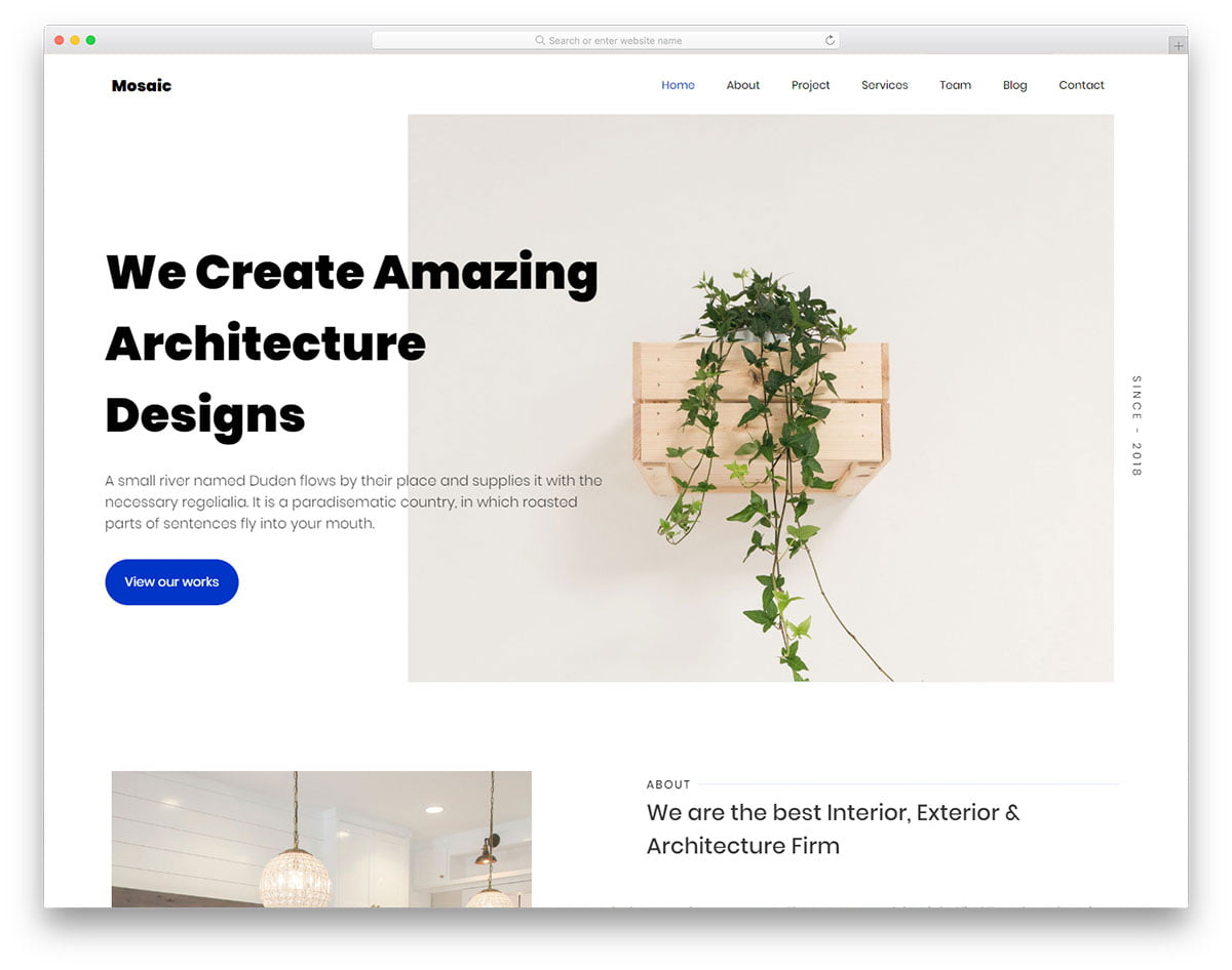 mosaic-free-template - 56+ Best Free Architecture HTML Website Templates [year]