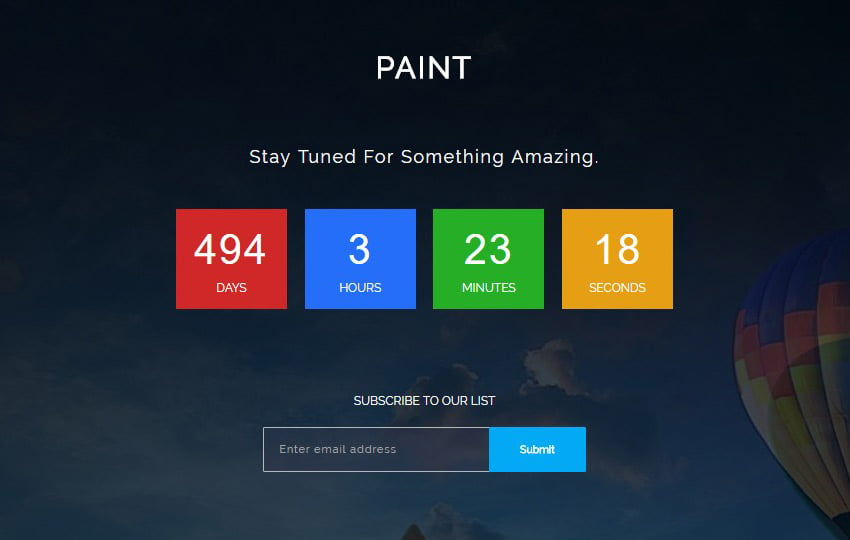 paint-coming-soon-html-free-template - 58+ Free Under Construction HTML Responsive Templates [year]