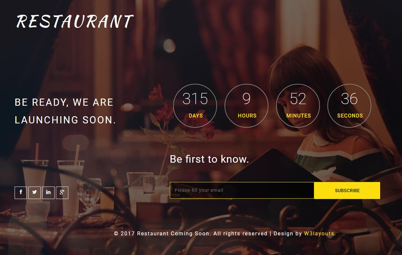 reataurant_comingsoon - 75+ Free Coming Soon HTML Responsive Templates 2019