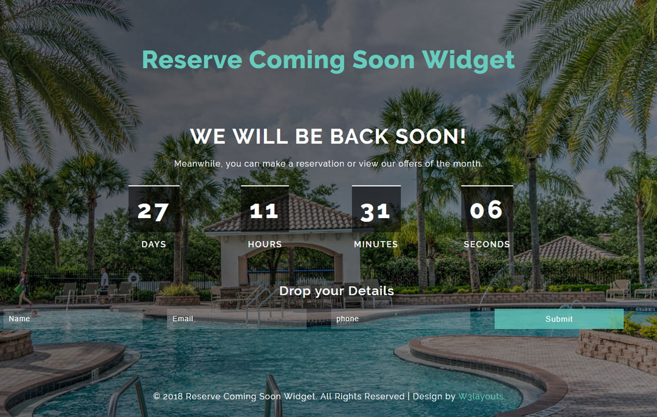 reserveComingsoon - 75+ Free Coming Soon HTML Responsive Templates 2019