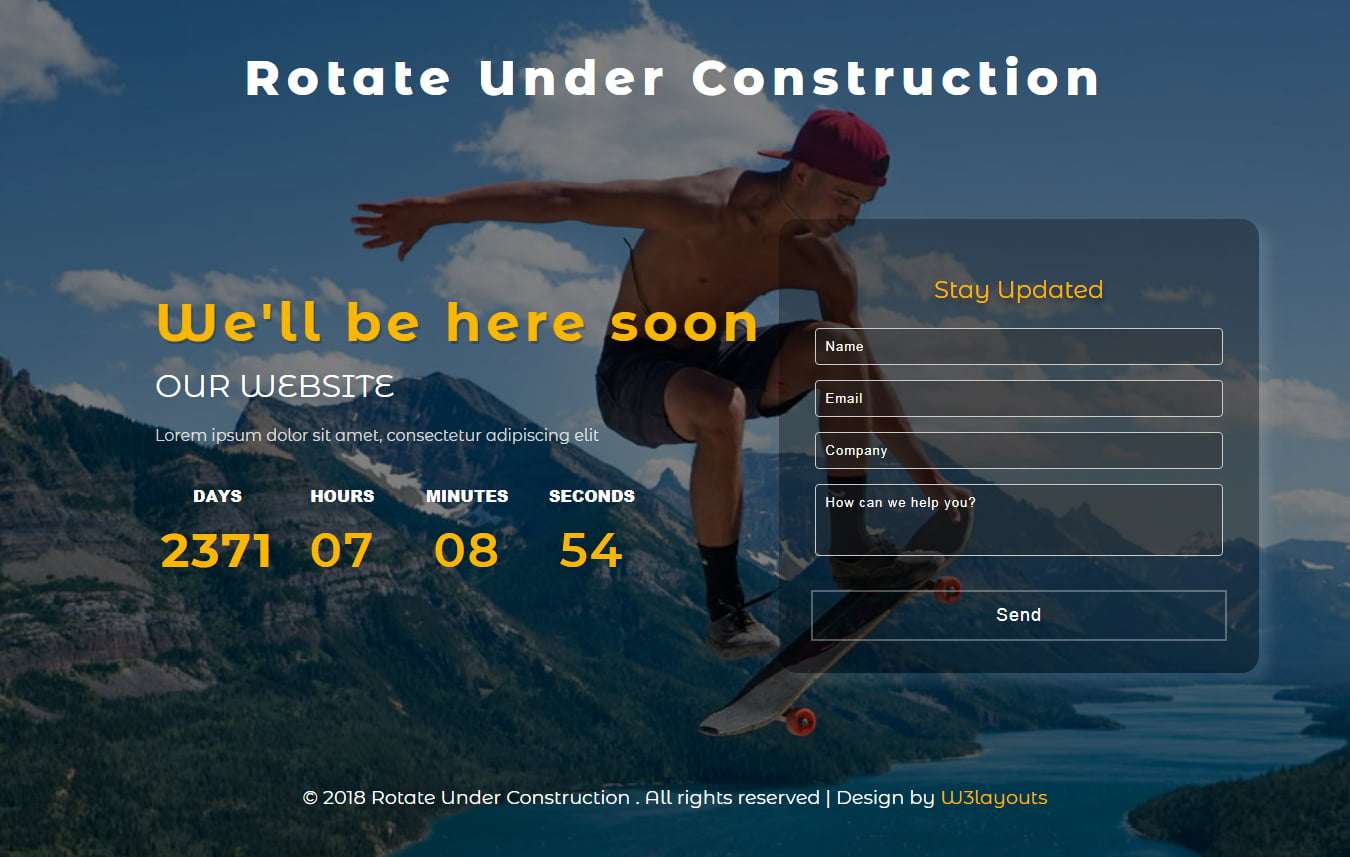 rotate_underconstruction-featuredimage - 75+ Free Coming Soon HTML Responsive Templates 2019