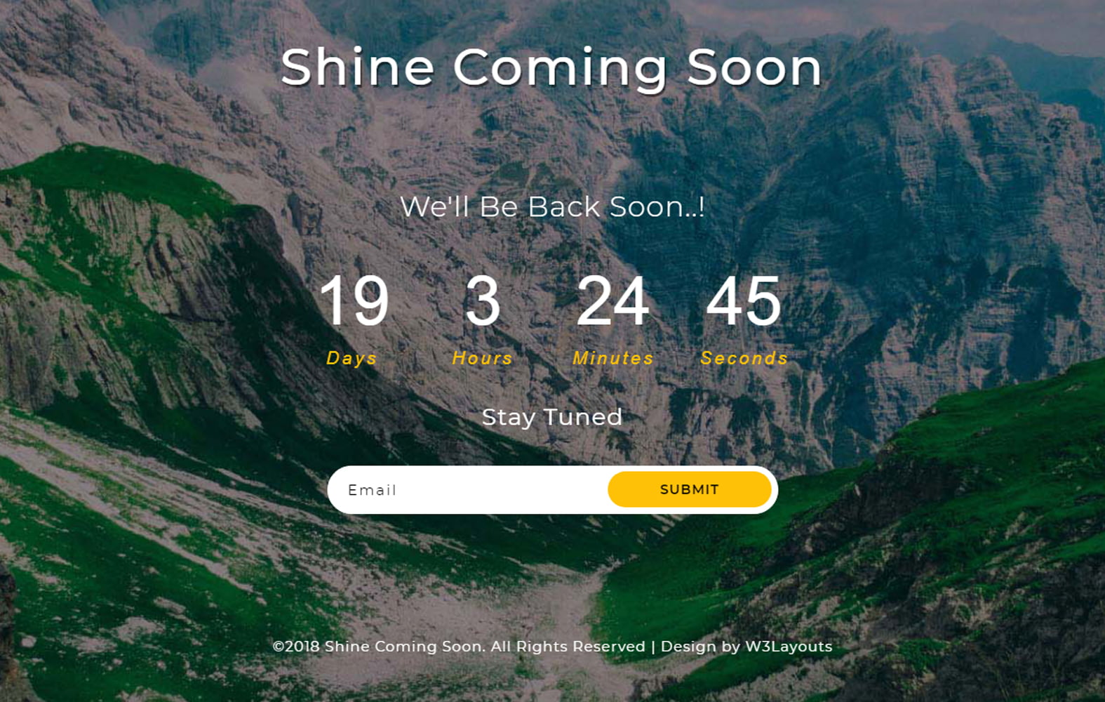 shine_coming_soon - 75+ Free Coming Soon HTML Responsive Templates 2019