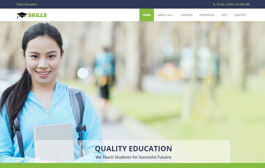 skills-best-education-bootstrap-html-free-website-1 - 57+ Best Free Digital Agency HTML Website Templates [year]