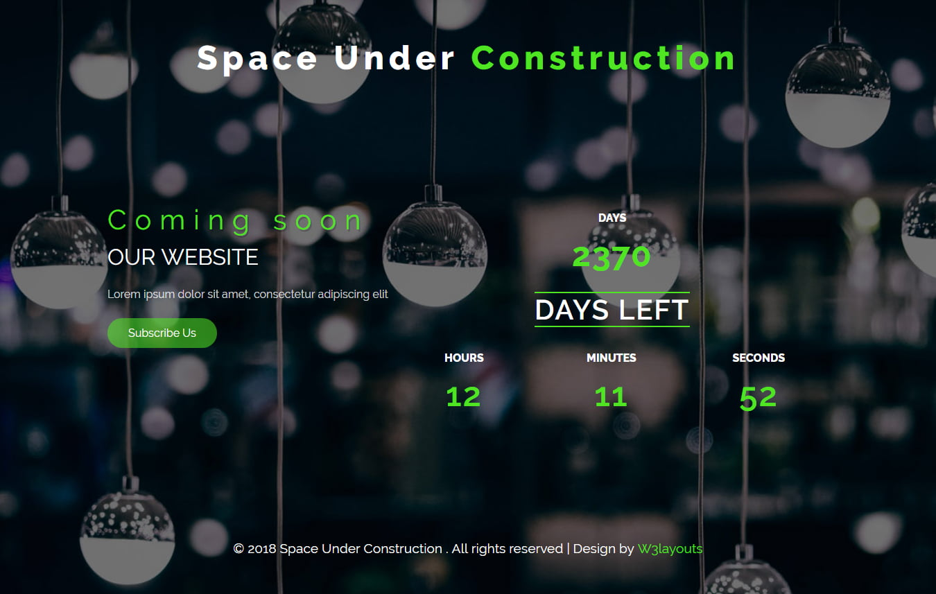 spaceunderconstruction - 75+ Free Coming Soon HTML Responsive Templates 2019
