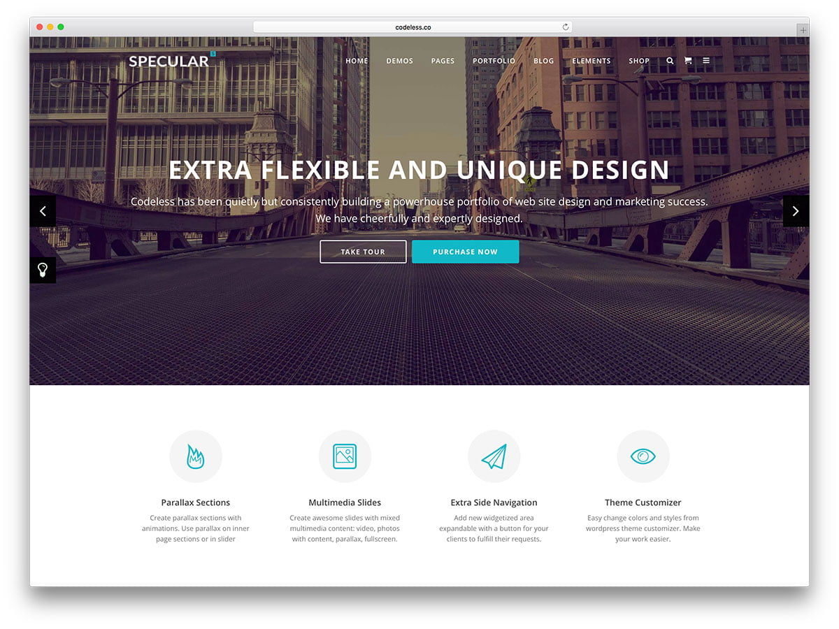 specular-clean-business-wordpress-template - 62+ Best Free HTML5 Website Templates [year]
